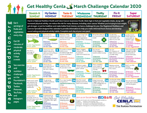 March Calendar Provides Daily Fitness and Nutrition Tips