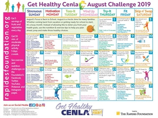 Use the August Calendar For Healthy Eating and Exercise Tips